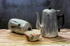 Still life classic kettle with cup Stock Images