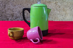 Still life classic kettle with cup Stock Photos