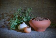 Still-life with clay pot Stock Photo