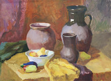 Still life with clay pottery and vegetables gouache painting Royalty Free Stock Photo