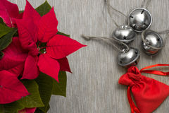 Still life close-up heap of festive Christmas jingle bells together Royalty Free Stock Photo