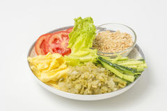 Still life: close-up studio shot variety of side dishes Royalty Free Stock Images