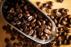 Still life coffee beans in metal scoop. Stock Image