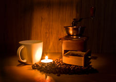 Still life with coffee and candle Stock Photos