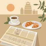 Still life with coffee and croissant Stock Photos