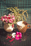 Still Life , Coffee Cup  With  Rose Plastic, flowers and Plant Royalty Free Stock Photography