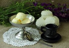 Still life with coffee, ice cream and white marshmallows Stock Photos