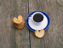 Still life of coffee and linking of cookies, top view Stock Images