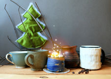 Still life with coffee and a magical christmas glow Stock Photos