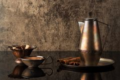 Still life coffee maker and a cup coffee. Sugar and spices Stock Photo