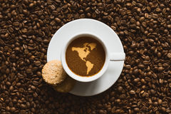 Still life - coffee with map of America continent. Still life photography of hot coffee beverage with map of America continent Stock Images