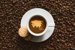 Still life - coffee with map of Asia continent Stock Image
