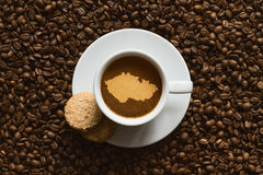 Still life - coffee with map of Czech Republic Stock Photos