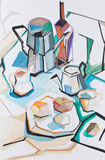 Still-life with a coffee pot. The stylized still-life with ware and fruit Stock Photo