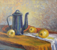 Still life with a coffee pot and fruit. Canvas, oil Stock Image