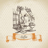 Still life with coffee. Vintage hand drawn illustration Royalty Free Stock Images
