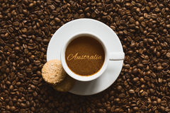Still life - coffee wtih text Australia Royalty Free Stock Image