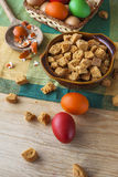 Still life colorful Easter eggs crouton Royalty Free Stock Photo