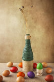 Still life colorful Easter eggs vase Royalty Free Stock Photo
