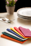 Still life with colorful paper table napkins Stock Photography