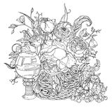 Still life coloring book antistress style picture Royalty Free Stock Images
