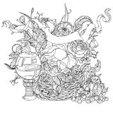 Still life coloring book antistress style picture Stock Photography