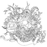 Still life coloring book antistress style picture Royalty Free Stock Image