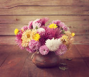 Still life with colourful chrysanthemums bunch Royalty Free Stock Image