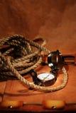 Still-life with  compass Stock Photos