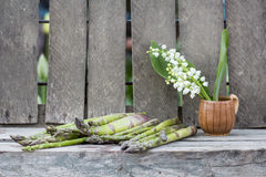 Still life composition with asparagus and ceramic pot with lily-of-the-valley flowers Royalty Free Stock Images