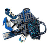 Blue still life composition. Still life composition with blue fashion objects, on white background Stock Photography