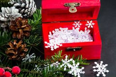 Still life composition with Christmas decorations and objects Royalty Free Stock Photo