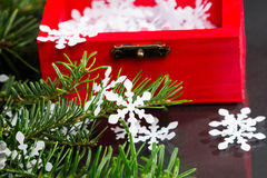Still life composition with Christmas decorations and objects Royalty Free Stock Images
