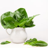 Still life composition with fresh spinach Stock Photo