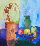 Still life composition illustration with basket, vase, fruit and Stock Images