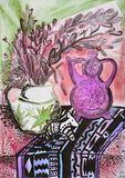 Still life composition illustration with a teapot, flowers, jug, Royalty Free Stock Photo
