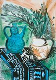 Still life composition illustration with a teapot, flowers, jug, Stock Photo