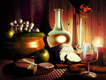 Still life. Composition of a pitcher and a glass of wine, fruits, bread, cheese, and a rose in a vase, illuminated by a candle Royalty Free Stock Photo
