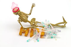 Still  life concept human body bone  wear condoms ,needles Stock Images