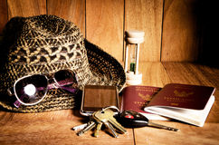 Still life concept of traveling all over the world Stock Images
