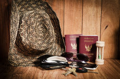 Still life concept of traveling all over the world Stock Photography