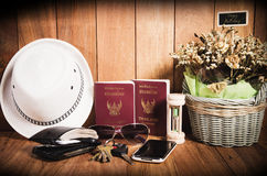 Still life concept of traveling all over the world Royalty Free Stock Image