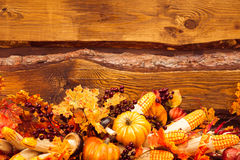Still life consisting of orange leaves, autumn berries and veget Stock Photos