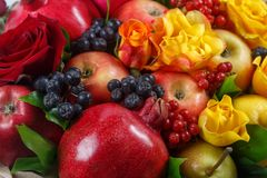 Still life consisting of pomegranates, apples, black rowan, red viburnum, pears, lemons and flowers of red and yellow roses close- stock images