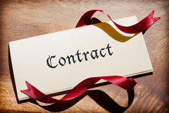 Still Life Of Contract Document On Wooden Desk Royalty Free Stock Photo