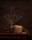 Still life with cookies in a basket Royalty Free Stock Images