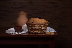 Still life with cookies in a basket Stock Photos