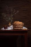 Still life with cookies in a basket Royalty Free Stock Photos