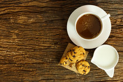 Still life cookies chocolate chip, raw food, coffee, fresh milk Stock Photography