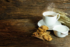 Still life cookies chocolate chip, raw food, coffee, fresh milk Royalty Free Stock Images